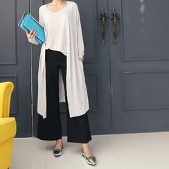 DANI LOVE - Set: Open-Front Long Cardigan + Sleeveless Top