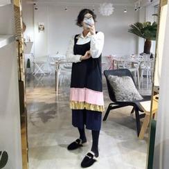 DISCOSALON - Color-Block Pleated-Hem Suspender Dress