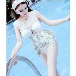 Jumei - Embroidered Open Back Swimsuit