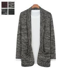 DANGOON - Shawl-Collar Mélange Open-Front Cardigan