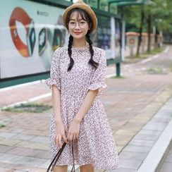 sansweet - Floral Print Short-Sleeve Dress