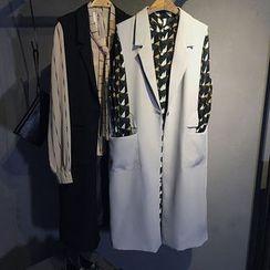 芷蓯夕 - 單扣無袖長款西裝外套