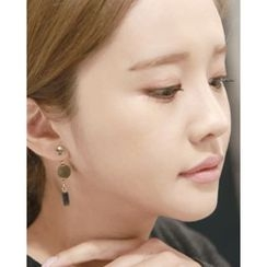 Miss21 Korea - Fringed Pompom-Dangle Asymmetric Earrings