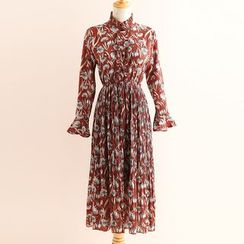 11.STREET - Frilled Neck Floral Print A-Line Dress