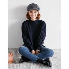 FROMBEGINNING - Mock-Neck Fleece-Lined Sweatshirt