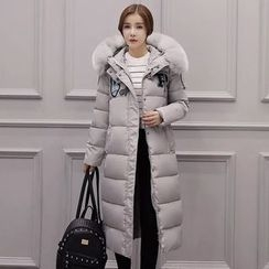 Aigan - Furry-Trim Hooded Applique Padded Coat