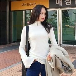 QNIGIRLS - Mock-Neck Bell-Sleeve Knit Top