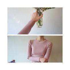 LEELIN - Wave-Edge Ribbed Knit Top