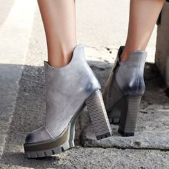JY Shoes - Stack Heel Ankle Boots
