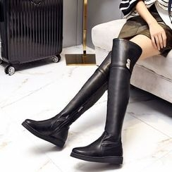 JY Shoes - Faux Leather Over-the-Knee Boots