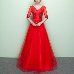 Rosita - Sequined Elbow-Sleeve Evening Gown