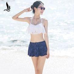 SANQI - 套装: 荷叶比基尼泳衣 + 裙