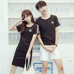 Azure - Couple Matching Contrast Trim Short Sleeve T-Shirt /Set: T-Shirt + Mini Skirt