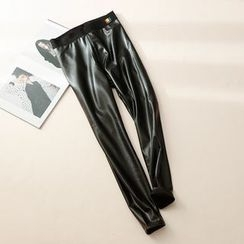 11.STREET - Fleece-Lined Faux Leather Pants