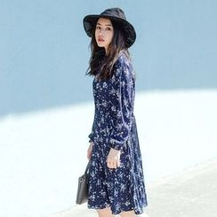 Forest Girl - Long-Sleeve Floral A-Line Dress