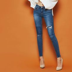 DABAGIRL - Distressed Washed Skinny Jeans