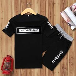 RUYA - Set: Lettering T-Shirt + Shorts