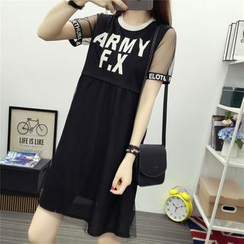 YOSH - Lettering Mesh Trim Short Sleeve A-Line Chiffon Dress