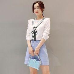 Mandalle - Set: Contrast Trim Long Sleeve Blouse + Zip Front Skirt