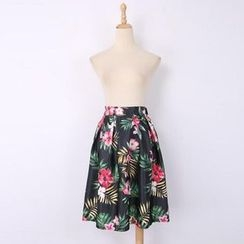 V-MAY - Floral Pleated A-Line Midi Skirt