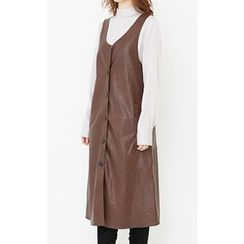 Someday, if - Dual-Pocket Buttoned Faux-Leather Jumper Dress
