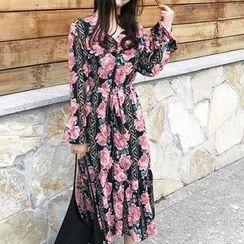 Cloud Nine - Floral Print Midi Chiffon Dress