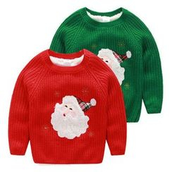 Seashells Kids - Kids Santa Applique Fleece-lined Sweater