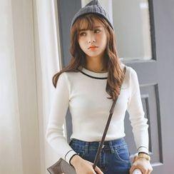 Ivena - Stripe Trim Ribbed Sweater
