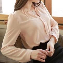 Q.C.T - 中式領雪紡襯衫
