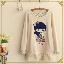Fairyland - Girl Applique Floral Trim Lace Panel Long-Sleeve Top