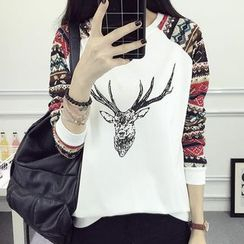 Fashion Street - Patterned Panel Deer Print Pullover
