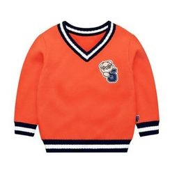 Ansel's - Kids Applique V-Neck Sweater