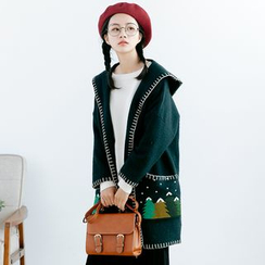 Forest Girl - Christmas Tree Embroidered Hooded Coat
