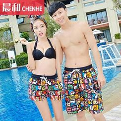 Morning Dew - Couple Matching Printed Swim Shorts / Headband