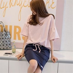 PIPPIN - Set: Drop-Shoulder T-Shirt + Mini Skirt