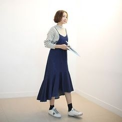 STYLEBYYAM - Ruffle-Hem Spaghetti Strap Denim Dress