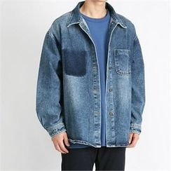 THE COVER - Pocket-Front Washed Denim Jacket