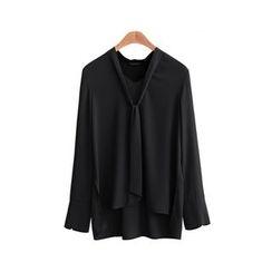 Cherry Dress - Plain Long Sleeve Chiffon Blouse