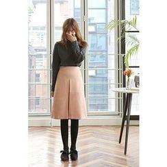CHERRYKOKO - Slit-Front Wool Blend A-Line Skirt
