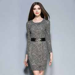 Cherry Dress - Long-Sleeve Patterned Sheath Dress