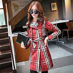 Romantica - Double-Breasted Plaid Trench Coat