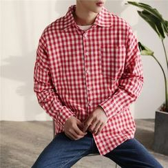 JUN.LEE - Gingham Long-Sleeve Shirt