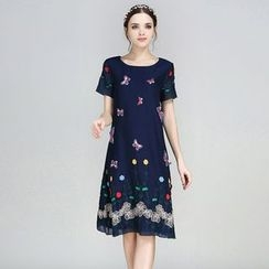 Elabo - Embroidered Short-Sleeve Denim Dress