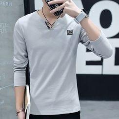 DTT - V-Neck Long-Sleeve T-Shirt