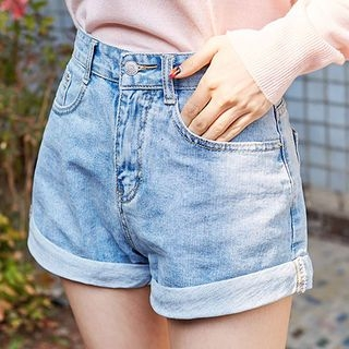 chuu - Cuff-Hem Washed Denim Shorts with Belt