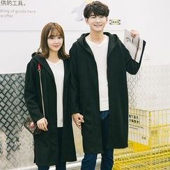 Azure - Couple Matching Hooded Long Trench Jacket