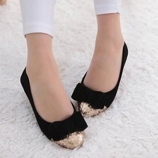 ZDJ Footwear - Bow-Accent Glitter Panel Flats