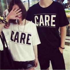 QZ Lady - Loose-Fit Lettering Long Couple T-Shirt
