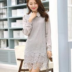 Mythmax - Crochet Chiffon-Panel Blouse Dress