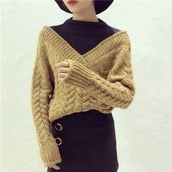 Octavia - Mock Two-Piece Cable Knit Sweater